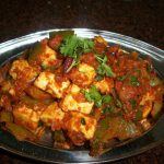 Kadai Paneer (Paneer and Capsicum cooked in a Tomato sauce)