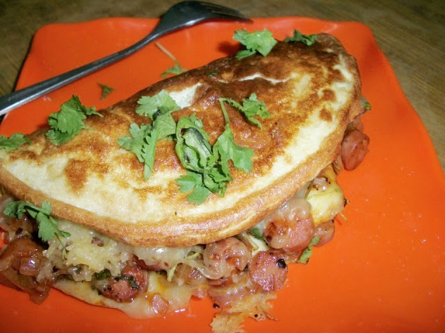 Fluffy Egg Omlette with Chicken Sausage Filling