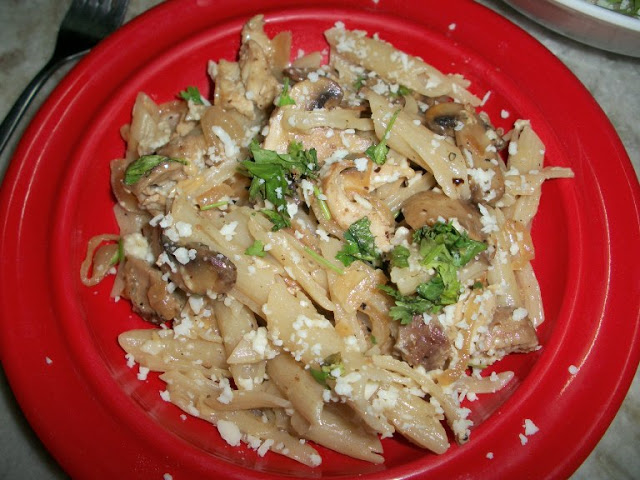Pasta Cooked in Chicken & Mushroom Cream Sauce