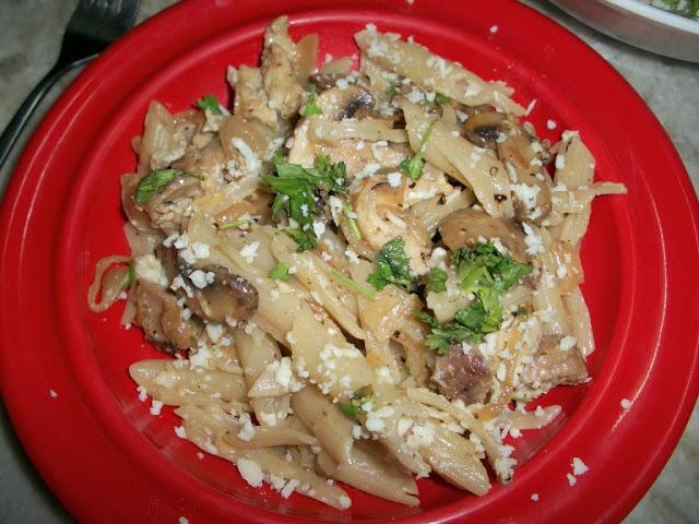 Pasta Cooked in Chicken & Mushroom Cream Sauce