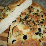 Focaccia Bread Flavoured with Rosemary,Onions and Olives