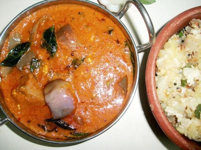 Kathirikai Kara Kulambu ( Brinjals cooked in a Spicy Gravy) & a Brinjal Story