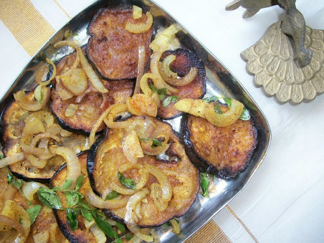 Brinjal Fry / Fried Eggplant with Onions and Curry leaves