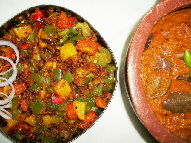 Bell Pepper Zunka / Tri-Colour Bell Pepper Fry with Besan / Capsicum Fry