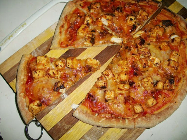 Spiced Grilled Tofu Pizza on Whole Wheat Base