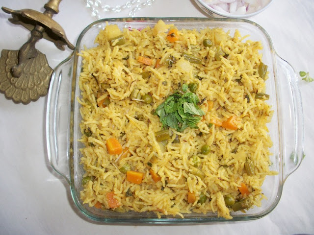 Spicy Vegetable Pilaf Recipe / Vegetable Pulav Recipe
