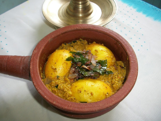 Keralan Egg Avial / Egg Cooked in a Spicy Coconut Gravy
