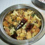 Valakai Poriyal / Raw Banana Poriyal with Coconut & Tamarind / Valakai Puli Vitu Karamadu – Iyengar Recipe