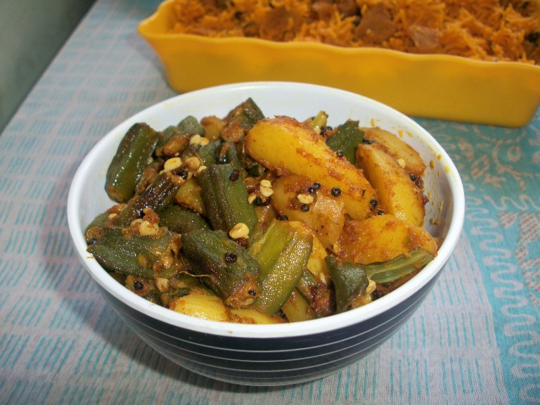 Bhinda Bataka / Bhindi Batata / Gujarati Okra Potato Curry / Potato & LadysFinger  Subzi (Sabzi) / How to make Leelo Masalo or Gujarati Fresh Masala