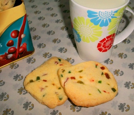 Eggless Tutti Fruity Cookies – Valentine Special Recipes / Christmas Cookies Recipes