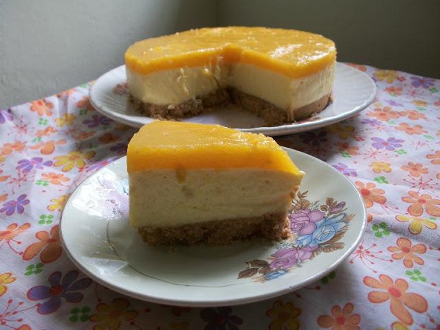 Eggless Mango Cheese Cake ( No Bake, No Cream Cheese, No SpringForm Pan, No Eggs) – Celebrating my 600th Post