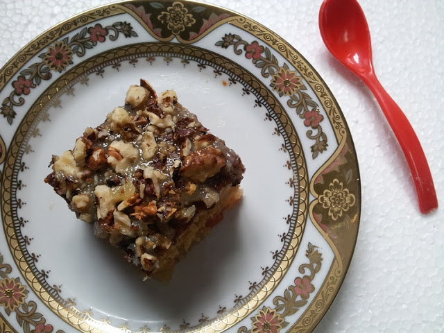 Fruit Cocktail Cake with Buttery Coconut Icing & Walnuts