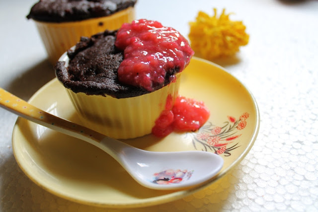 Microwave Chocolate Cherry Cake with Chunky Cherry Coulis ( No Egg, No Butter, Takes Just 2 Mins to Make)