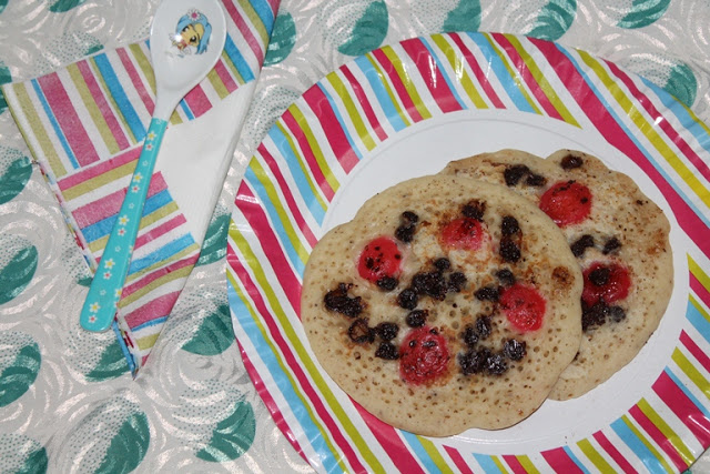 Eggless Pancakes with Cherry & Chocolate Chips