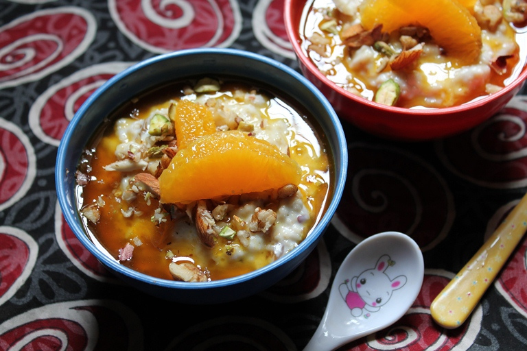 Creamy Oats Porridge with Nuts & Orange Sauce – Healthy Way to Start a Day