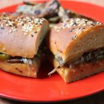 Mushroom Sandwich with Onions, Peppers & Cheese