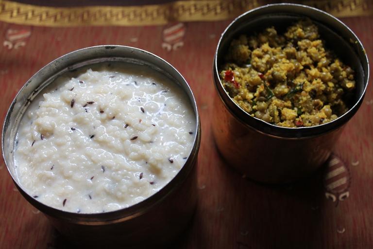 Paal Kanji with Cherupayar Thoran / Rice & Milk Porridge with Green Gram (Thoran) Cooked in a Spicy Coconut Masala