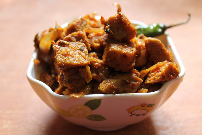 Yam Chops / Fried Elephant Yam Tossed with Spicy Masala