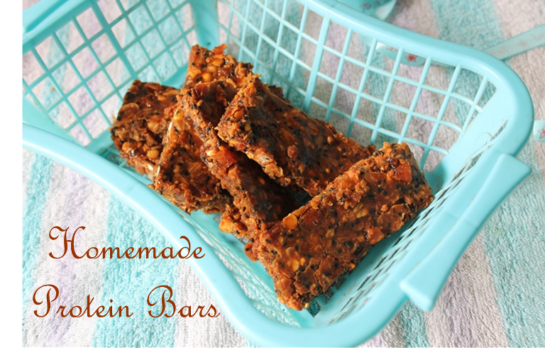 Homemade Protein Bars with Muesli, Cornflakes, Nuts, Dates, Dry Fruits & Seeds