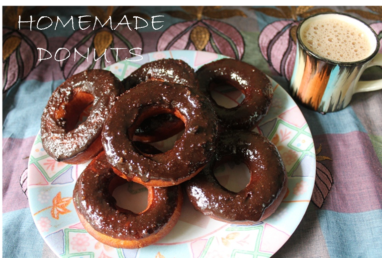 Eggless Doughnuts With Chocolate Glaze Homemade Donut Made From Scratch