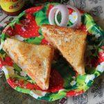 Grilled Potato & Onion Sandwich with Low Fat Creamy Spread