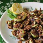 Brinjal Besan Fry / Besan Baingan / Baingan Kalwa / Spicy Eggplant tossed with Aromatic Gram Flour Powder