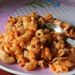 Keema Macaroni / Cheese Topped Minced Chicken Pasta
