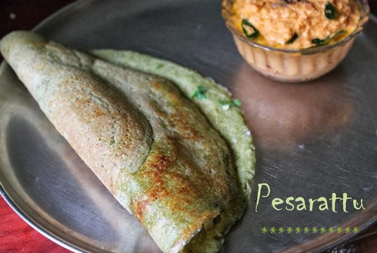 Pesarattu / Andhra Pesarattu Dosa / Green Moong Dal Crepes(Dosa)