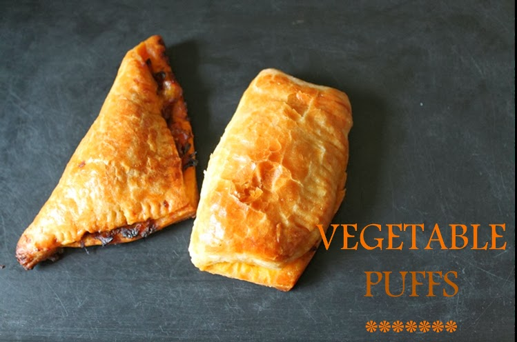 Vegetable Puffs From Homemade Puff Pastry Sheets / Vegetable Pastry Puffs / Veg Puffs