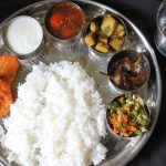 Lunch Menu 1 – Ginger Rasam, Yam Poriyal, Carrot Beans Thoran, Chilli Tamarind Pickle & Vazhakkai Bajji