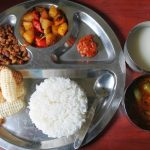 Lunch Menu 5 – Malli Rasam, Potato Capsicum Poriyal, Siru Kizhangu Poriyal