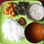 Lunch Menu 7 – Tirunelveli Sodhi, Spinach Thoran, Potato Roast, Rasam & Onion Pickle