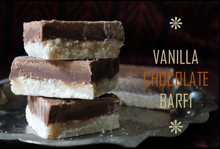 Vanilla & Chocolate Burfi Recipe / Chocolate Burfi (Barfi) Recipe / Vanilla Barfi Recipe
