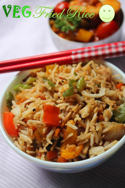 Restaurant style vegetable fried rice recipe veg fried rice recipe the key for a aromatic and perfect fried rice is the rice which we use it has to be quality one plus aromatic one i always use india gate basmati rice ccuart Images