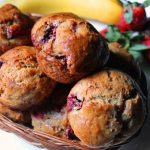 Eggless Whole Wheat Strawberry Muffins Recipe / Eggless Strawberry Banana Muffins Recipe
