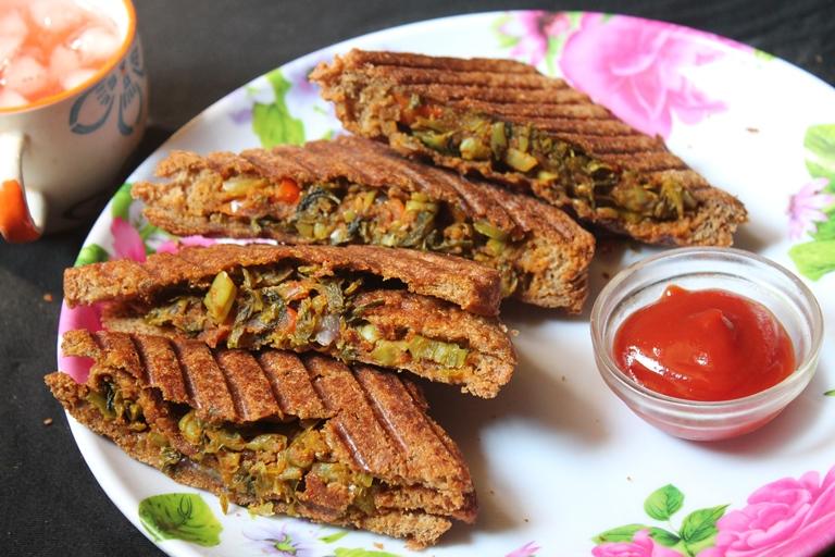 Grilled Vegetable Masala Sandwich Recipe