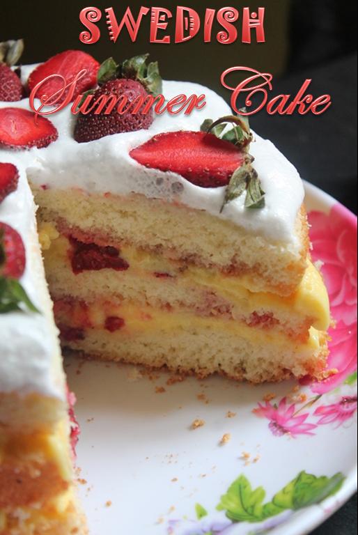 Swedish Summer Cake Recipe Strawberry Cream Cake Recipe Yummy Tummy
