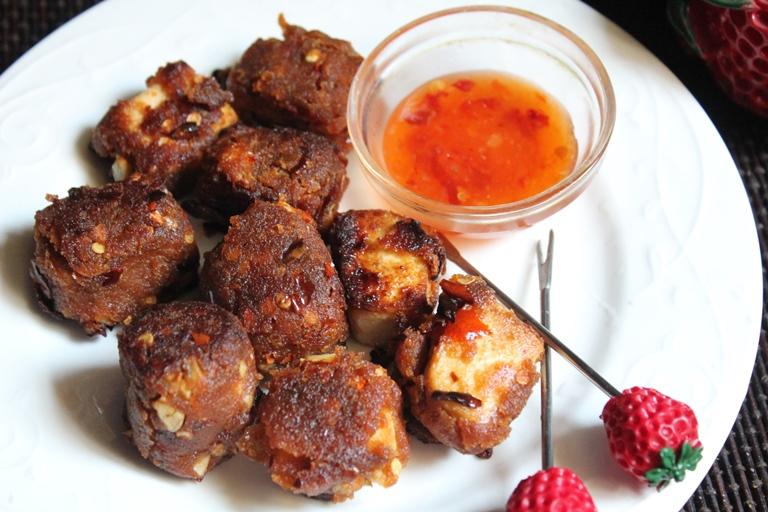 Crispy Tofu Recipe / Fried Tofu with Sweet Chilli Sauce