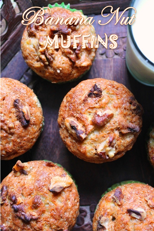 Eggless Banana Nut Muffins Recipe Banana Walnut Muffins