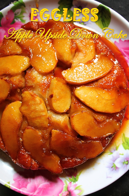 Apple Upside Down Cake Recipe Eggless Low Fat