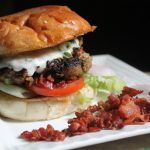 Lamb Burger with Herbed Yogurt & Candied Bacon