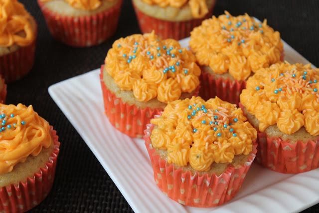 Eggless Orange Cupcakes Recipe – Orange Cupcakes with Orange Buttercream Frosting Recipe