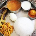 Lunch Menu 9 – Besan Peppers, Turnip Potato Poriyal, Tomato Curry, Neer Nellikai & Yogurt