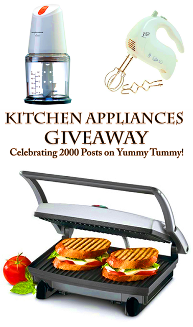 WINNERS ANNOUNCED – Kitchen Appliances Giveaway to Celebrate 2000 Posts on Yummy Tummy!
