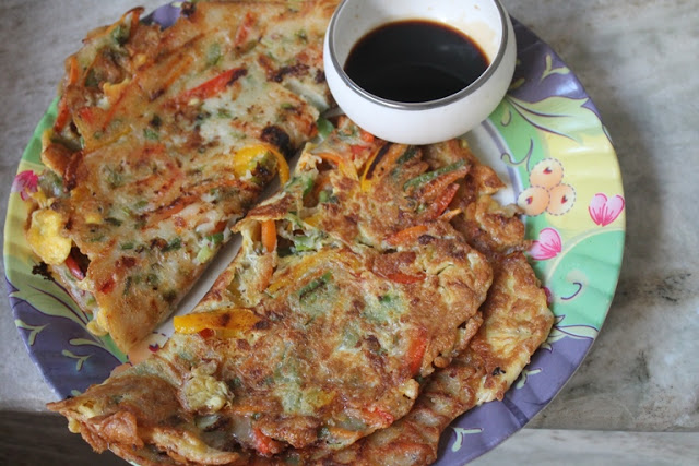 Korean Vegetable Pancakes with Easy Soy Dipping Sauce
