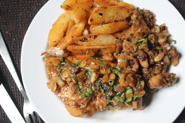 Pan Fried Lemon Garlic Chicken with Sauteed Mushrooms & Oregano Potatoes – Continental Food 4