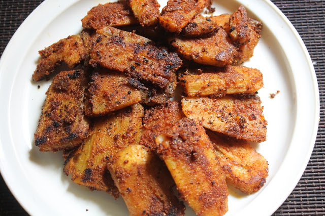 Raw Banana Tawa Fry Recipe – Vazhakkai Varuval Recipe