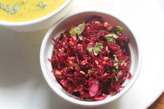 Beetroot Kosambari Recipe – Grated Beetroot & Moong Dal Salad Recipe
