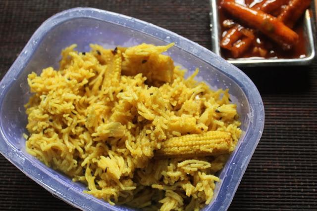 Baby Corn Pulao with Garlic Baby Corn – Kids Lunch Box Ideas 4