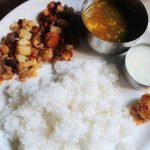 Lunch Menu 12 – Potato Poriyal, Carrot Poriyal, Tomato Rasam, Neer Nellikai & Yogurt